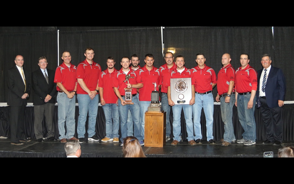 1st Place Mine Rescue overall - Wellmore Coal Co - Red Team on stage