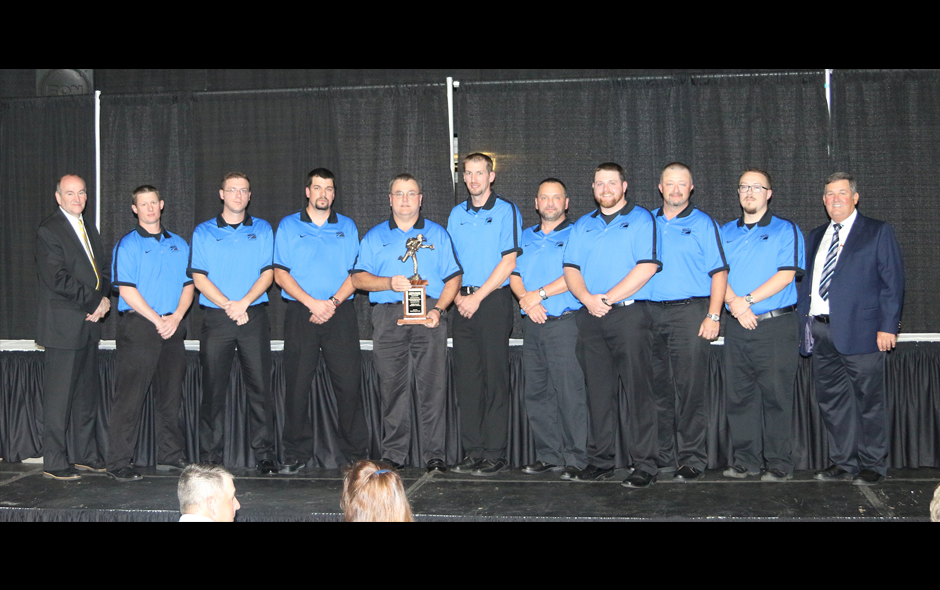 3rd Place Mine Rescue overall - ACI Tygert Valley Leer Mine Blue Team on stage