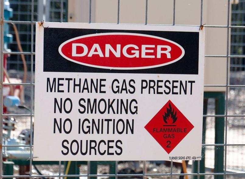 Danger Sign for  Methane Gas