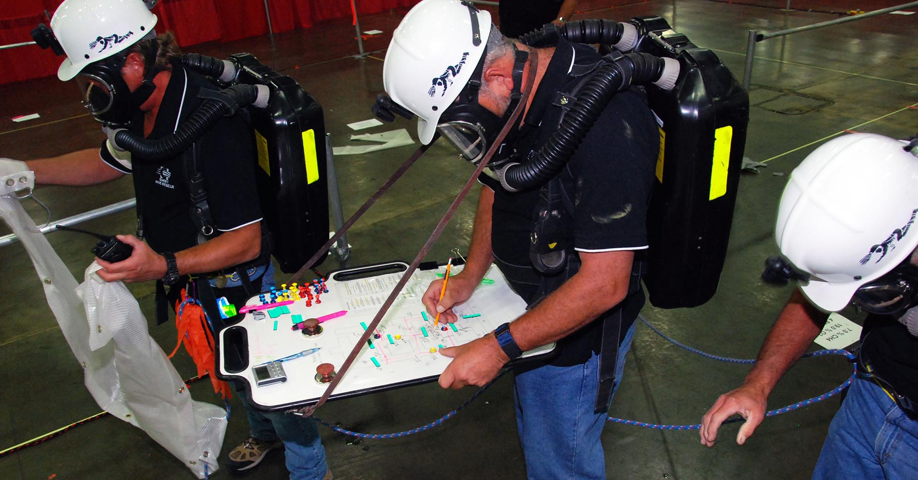 Mine rescue instruction guides