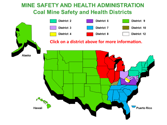 MSHA coal mine districts