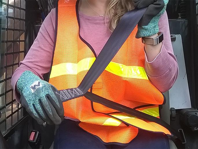 Woman wearing seat belt