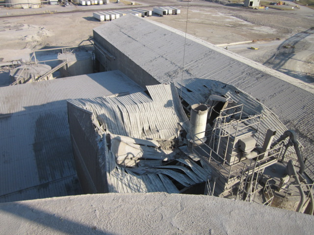Caved in roof of cement plant