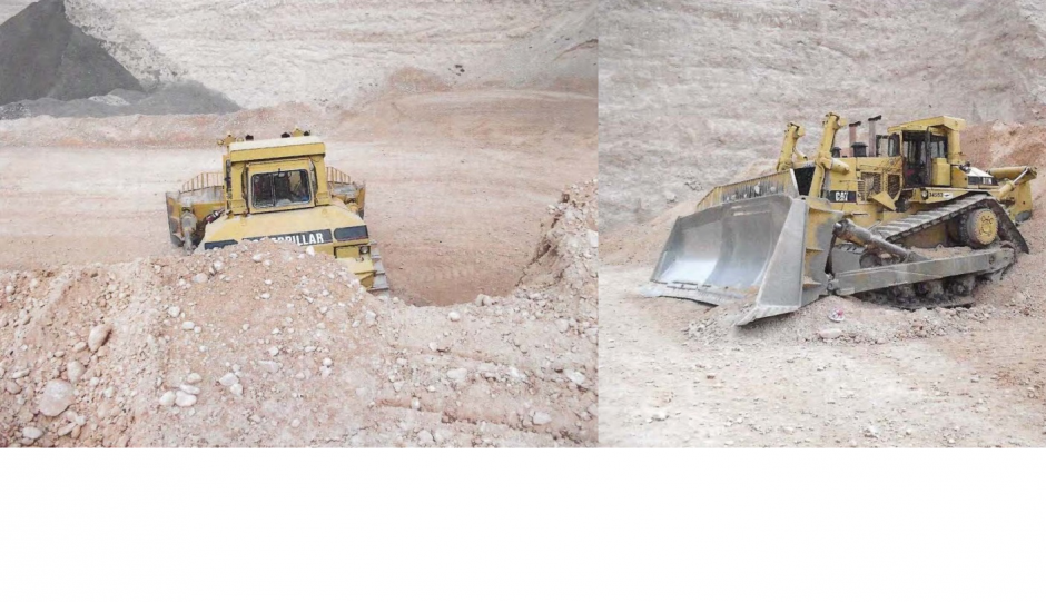 stuck bulldozer front and back view