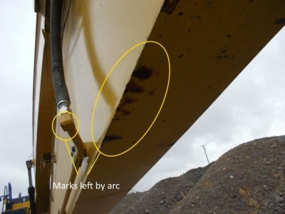 Marks left on excavator by electrical arc