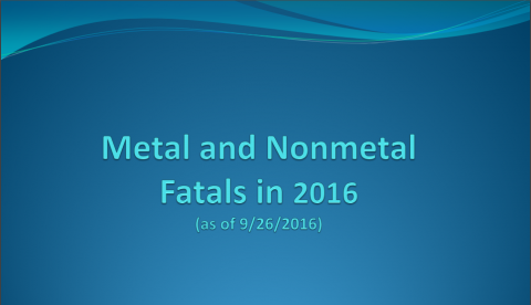 Metal and Nonmetal Fatals In 2016 as of 9/26/2016