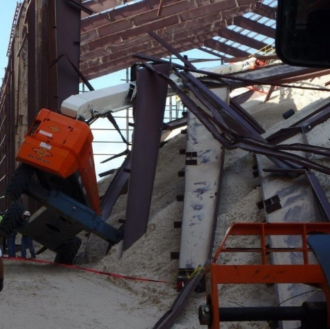 Collapsed building at construction site