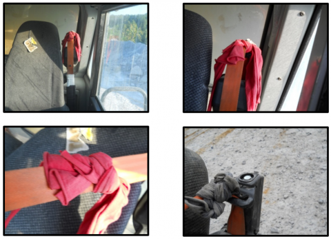 four images of tampered seatbelts