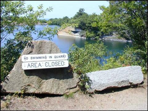 no swimming in quarry, area closed