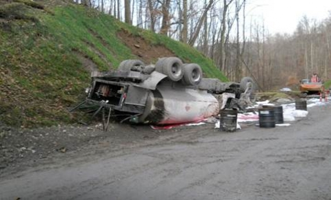 Upside down fuel truck on a asphalt road