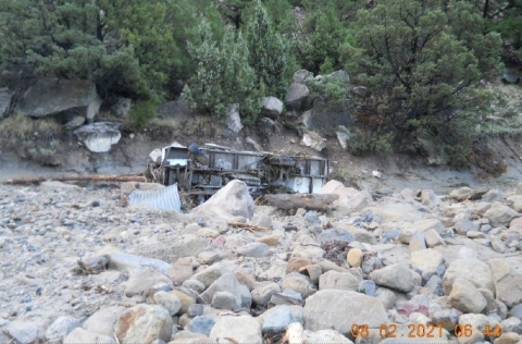 Accident scene where a miner drowned during a flash flood while traveling in a personnel carrier to go to the mine portal.