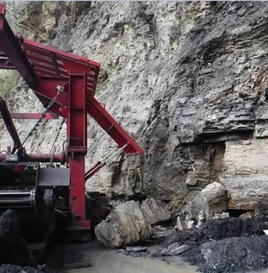 rock fallen on surface auger mine