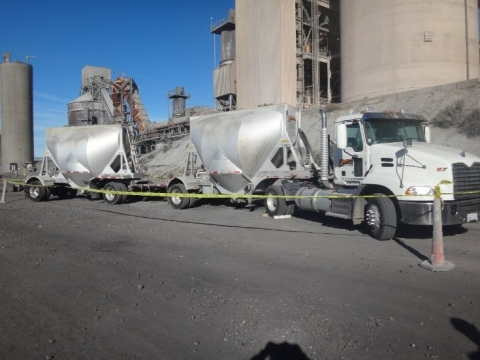 scene of accident where the victim fell from the top of the trailer