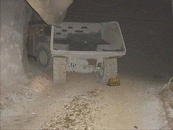 haul truck at underground gold mine