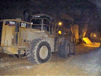 front-end loader at underground industrial sand mine