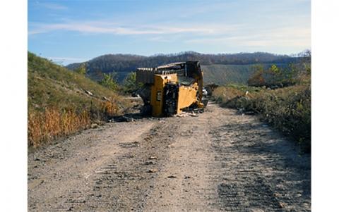 overturned bulldozer