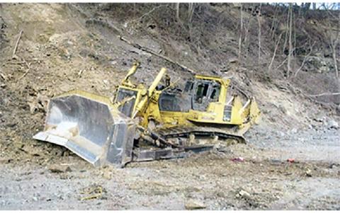 crushed bulldozer