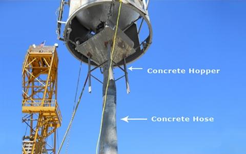Concrete hopper and hose
