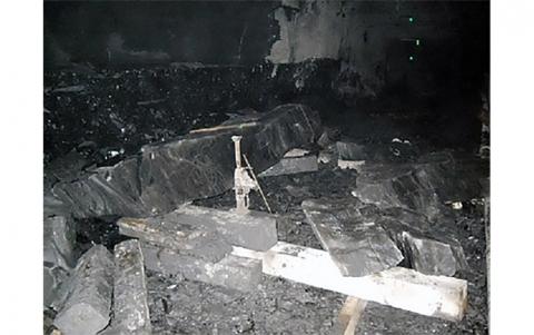 debris from a fallen rib