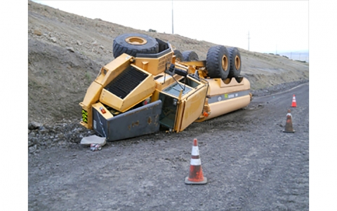 overturned water truck