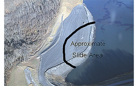 coal slurry impoundment. The approximate slide area is highlighted