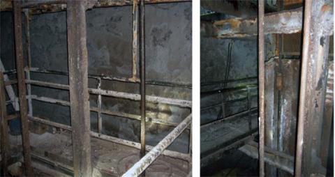 A metal walkway in an underground salt mine