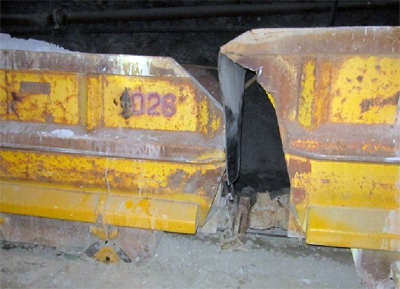 Two ore cars, one derailed, another was the cause of the accident