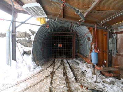 A tunnel entrance to a mine