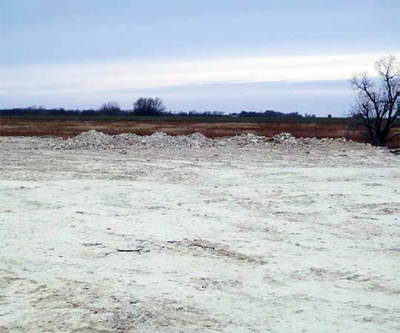 A gravel field that was the site of the blast