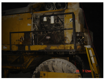A scaler with a removed panel where the victim had been working on the internal hydraulics.