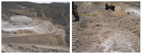 two photos. One showing a wide view of the accident scene. The other shows a close up of the hill where the victim's vehicle landed.