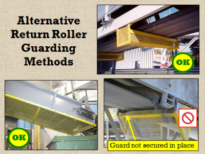 guards that protect miners from exposure to conveyor belt moving parts