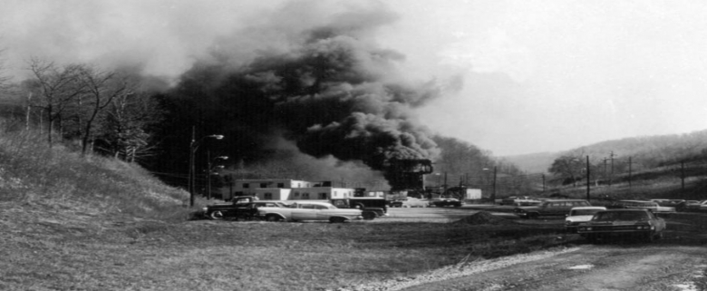 Smoke billows from the Farmington Mine in 1968 after deadly explosion