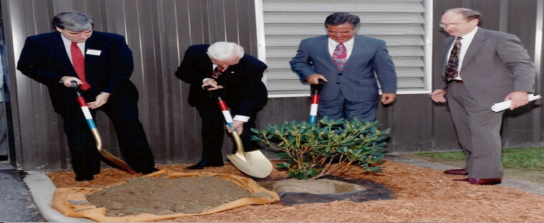 Senator Byrd, second from left, at dedication of Academy's Mine Simulation Laboratory in 1992