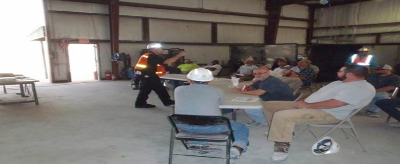 Mine rescue team in meeting