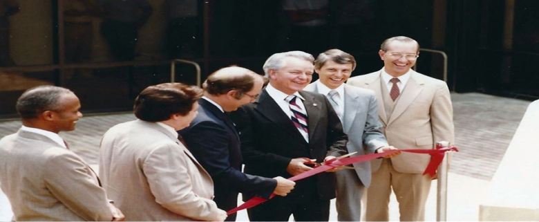 Senator Byrd at ribbon cutting for Academy Publication Center