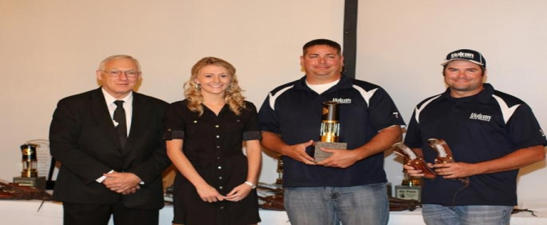 Assistant Secretary with the Team Technician winners, Jason Hook and Kevin Callister